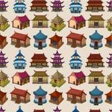 Cartoon Chinese house seamless pattern royalty free illustration
