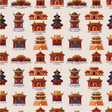 Cartoon Chinese house seamless pattern royalty free illustration