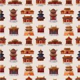 Cartoon Chinese house seamless pattern. Drawing Stock Photo