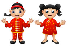 Cartoon Chinese Kids stock illustration