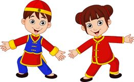 Cartoon Chinese kids with traditional costume stock illustration