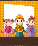 Cartoon chinese people card Royalty Free Stock Photo