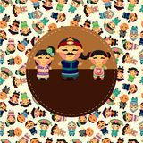 Cartoon chinese people card Stock Photo