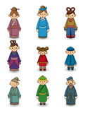 Cartoon Chinese people icon set Stock Photography