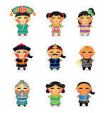 Cartoon Chinese People Icon Set Royalty Free Stock Images