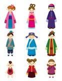 Cartoon Chinese People Icon Set Stock Photo