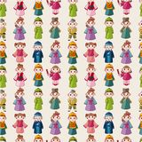 Cartoon Chinese people seamlese pattern Stock Photos
