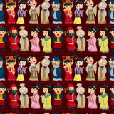 Cartoon Chinese people seamless pattern Stock Photography