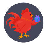 Cartoon chinese zodiac fire rooster. Stock Image