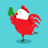Cartoon chinese zodiac fire rooster. Vector illustration for holiday design. 2017 New year symbol. Red color. China lunar decoration. Oriental sign Stock Images