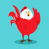 Cartoon chinese zodiac fire rooster. Vector illustration for holiday design. 2017 New year symbol. Red color. China lunar decoration. Oriental sign Royalty Free Stock Photography