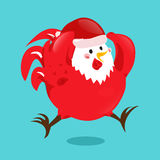 Cartoon chinese zodiac fire rooster. Vector illustration for holiday design. 2017 New year symbol. Red color. China lunar decoration. Oriental sign Royalty Free Stock Images
