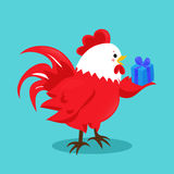 Cartoon chinese zodiac fire rooster. Vector illustration for holiday design. 2017 New year symbol. Red color. China lunar decoration. Oriental sign Royalty Free Stock Photo
