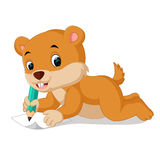 Cartoon chipmunk holding pencil. Illustration of cartoon chipmunk holding pencil Royalty Free Stock Photos