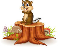 Cartoon chipmunk sitting on tree stump Royalty Free Stock Photo