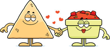 Cartoon Chips and Salsa Holding Hands. A cartoon illustration of a torilla chip and a bowl of salsa holding hands Stock Images