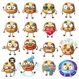 Cartoon choc chip cookie characters illustration 2. Cartoon funny choc chip cookie characters vector illustration. Cute food face emoji icons isolated on white Royalty Free Stock Photography