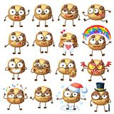 Cartoon choc chip cookie characters illustration 1. Cartoon funny choc chip cookie characters vector illustration. Cute food face emoji icons isolated on white Royalty Free Stock Images