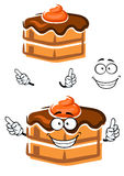 Cartoon chocolate cake with ganache frosting Royalty Free Stock Photo
