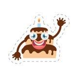 Cartoon chocolate cake party cut line Stock Photo