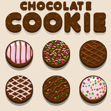 Cartoon Chocolate cookie, biskvit vector food letters. In vector royalty free illustration