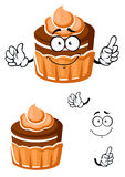 Cartoon chocolate cupcake with caramel cream Royalty Free Stock Photography