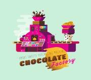 Cartoon Chocolate Factory vector illustration. Stock Image
