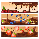 Cartoon Chocolate Horizontal Banners Stock Photography
