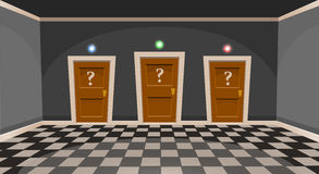Cartoon choose a door concept. Empty room with three door in grey style Royalty Free Stock Photos