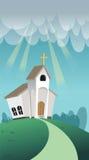 Cartoon christian church. Stock Photo