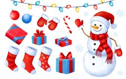 Free Cartoon Christmas And New Year Paint Collection. Set Of Christmas Icons. Illustration On White Background. Royalty Free Stock Photos - 131234768