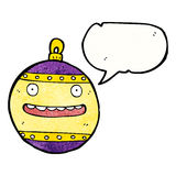 Cartoon christmas bauble with speech bubble Royalty Free Stock Photos