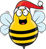 Cartoon Christmas Bee Happy Royalty Free Stock Photo