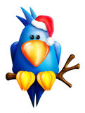 Cartoon Christmas Blue Bird Stock Photography