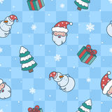 Cartoon Christmas blue pattern. Christmas pattern with santa, gifts, snowman and spruce vector illustration