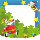 Cartoon christmas border - illustration for the children Stock Images