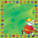 Cartoon christmas border - illustration for the children Stock Images