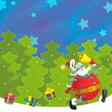 Cartoon christmas border - illustration for the children Royalty Free Stock Photo