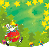 Cartoon christmas border - illustration for the children Stock Photos