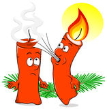 Cartoon of a Christmas candle that blows out another candle Stock Image