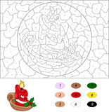 Cartoon christmas candle. Color by number educational game for k. Ids. Illustration for schoolchild and preschool Royalty Free Stock Image