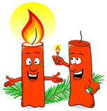 Cartoon of a Christmas candle that ignites another candle Stock Image