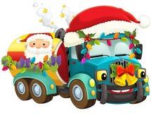 Cartoon christmas car - illustration for the children Stock Image