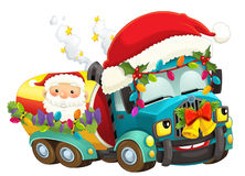Cartoon christmas car - illustration for the children Royalty Free Stock Photos
