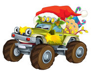 Cartoon christmas car - illustration for the children Royalty Free Stock Photo