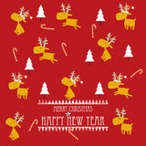 Cartoon Christmas Card Design with reindeers Royalty Free Stock Photo