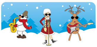 Cartoon Christmas card. girl, snowman and reindeer Royalty Free Stock Photography