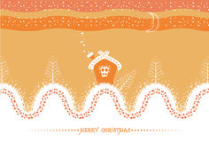 Cartoon Christmas card with house and snow landsca Stock Image