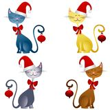 Cartoon Christmas Cats Clip Art 2. A clip art illustration featuring your choice of 4 colorful Christmas cats isolated on white wearing santa hats, bows, and Royalty Free Stock Image