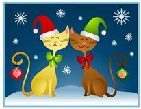 Cartoon Christmas Cats Holiday Card. A clip art illustration featuring a pair of cartoonish looking non-gender specific cats dressed for Christmas with hats and vector illustration